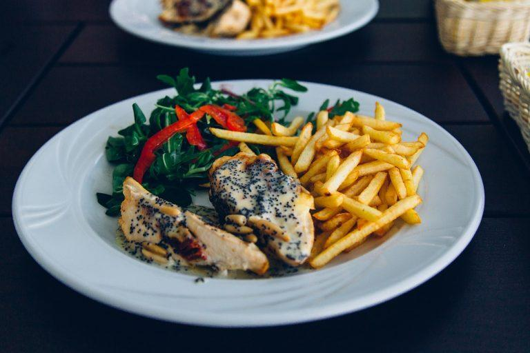 french fries, chicken, eating